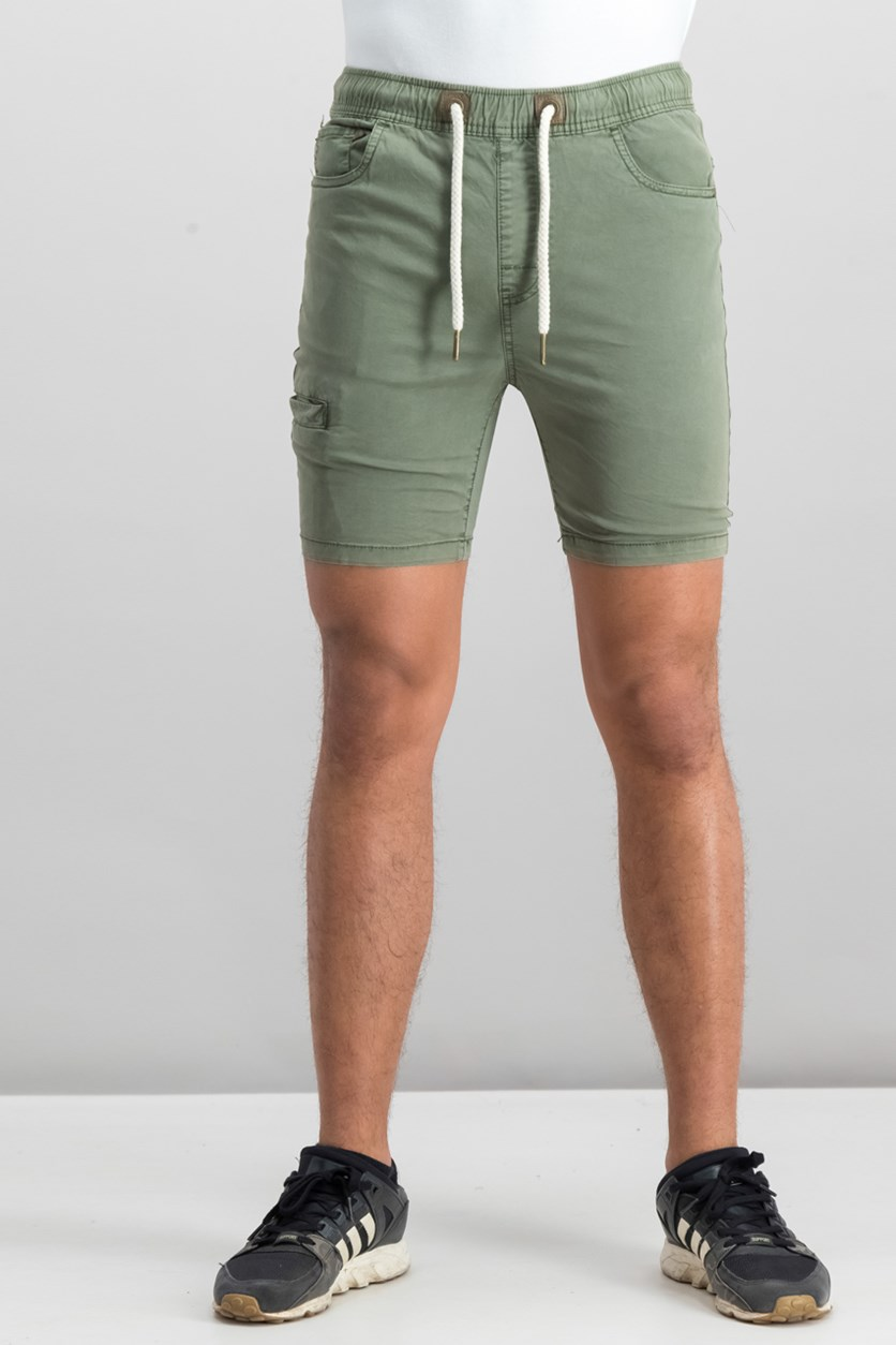 Men's Drawstring Plain Shorts, Green