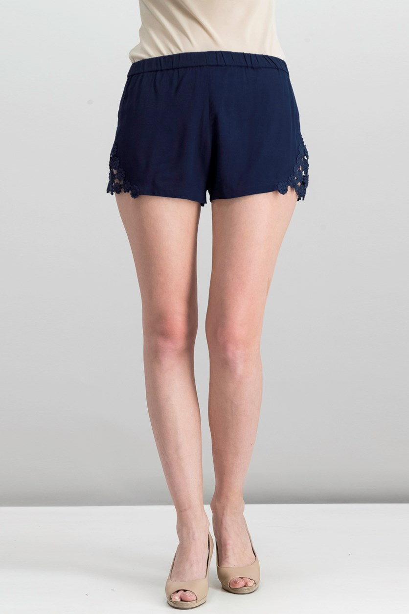 Women's Crochet Shorts, Navy
