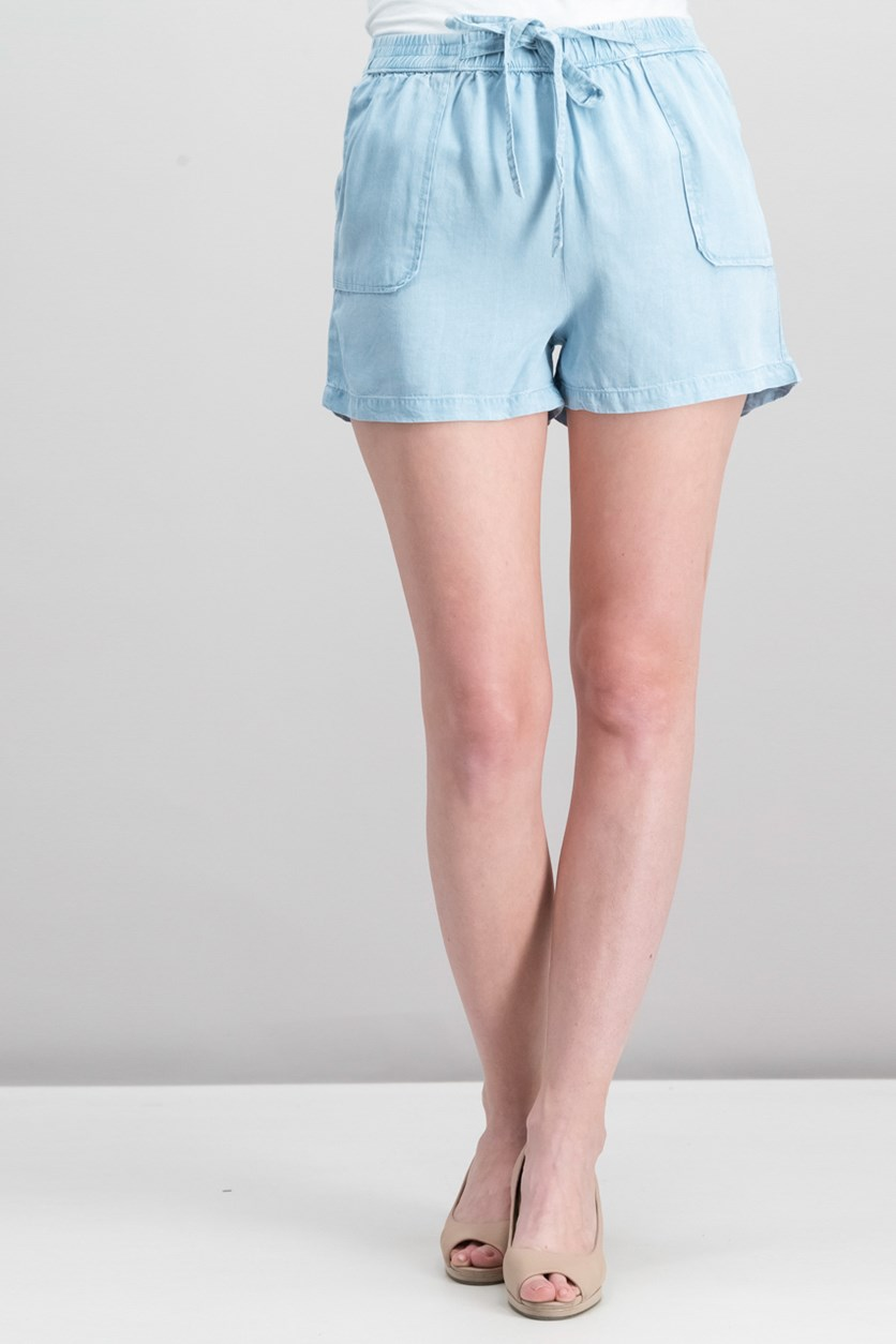 Women's Elasticwaist Shorts, Blue Wash