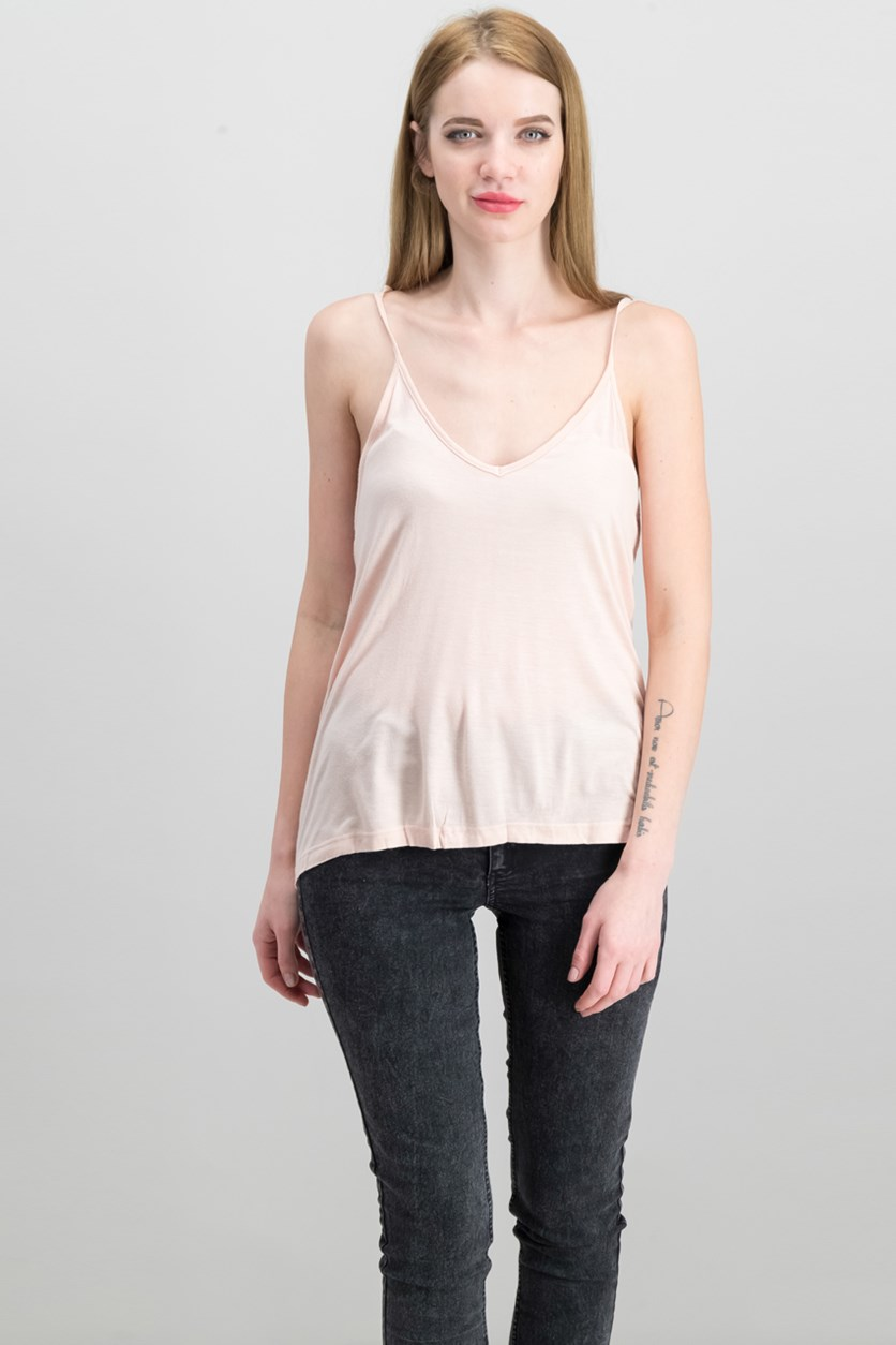 Women's Tie Sleeve Top, Pale Pink