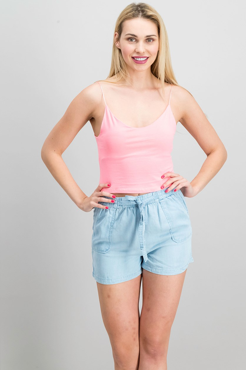 Women's Thin Shoulder Strap Top, Coral Pink
