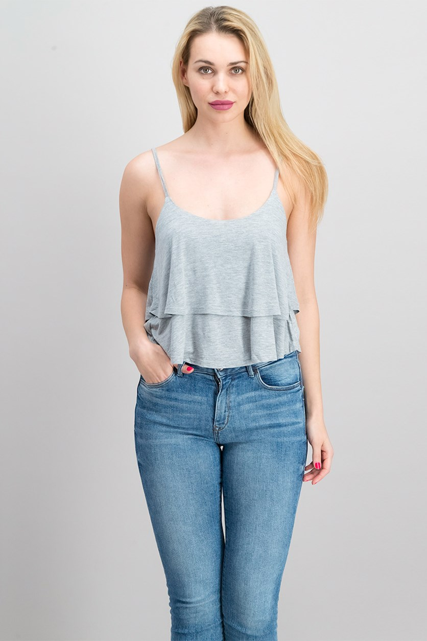 Womens Ruffle Top, Grey