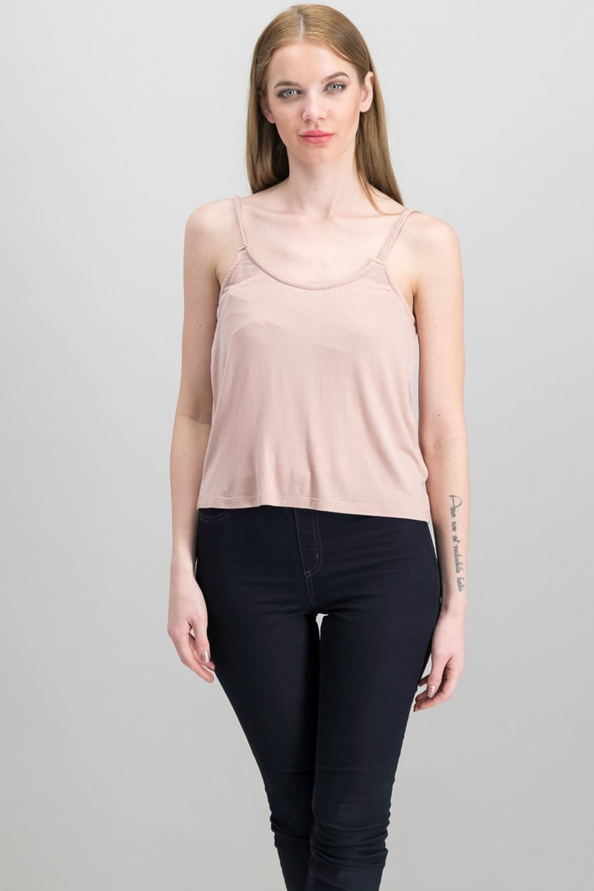 Women's Braided Strap Top, Dusty Pink