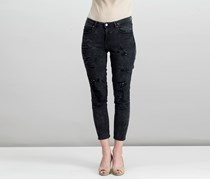 Women's Rip and Repair Skinny Jeans, Black Wash