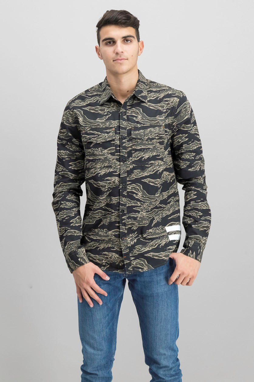 Men's Camo Print Shirt, Green Night Olive