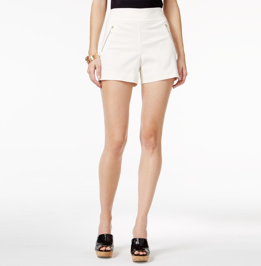 Zipper-Detail Shorts, Bright White