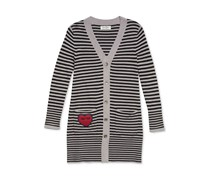 Jessica Simpson Striped Button-Front Cardigan, Black/Grey
