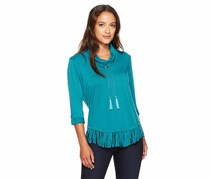 Ruby Rd. Women's Plus Cowl Neck Silky French Terry Pullover with Fringe Hem, Peacock
