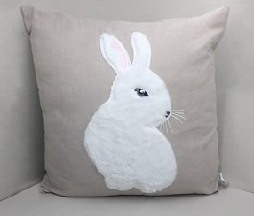 Lovely Rabbit Suede Fabric Throw Pillow, Gray