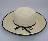 Women's Bowknot Wide Brim Hat, Beige