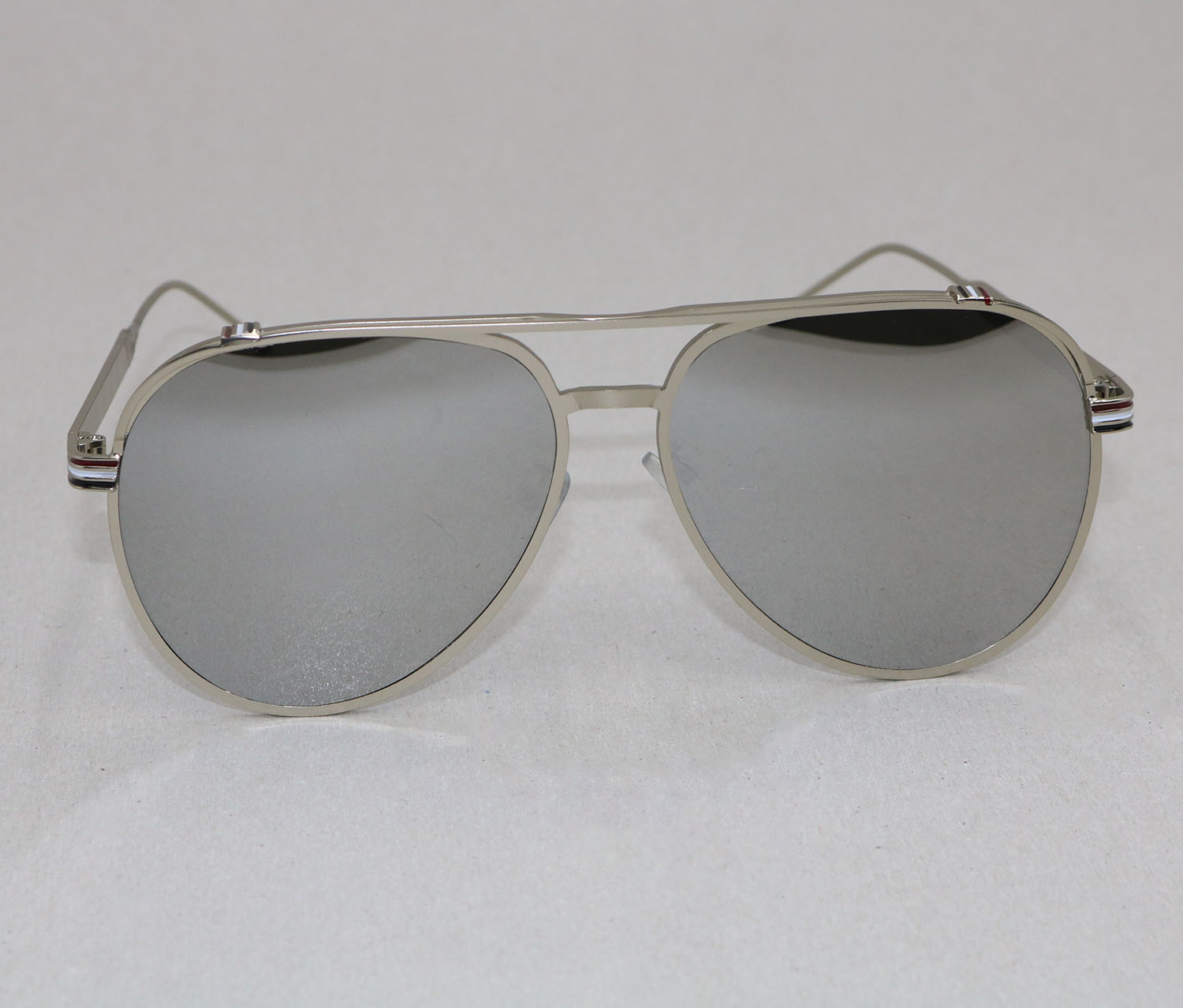 Double Bridge Metal Frame Sunglasses, Silver