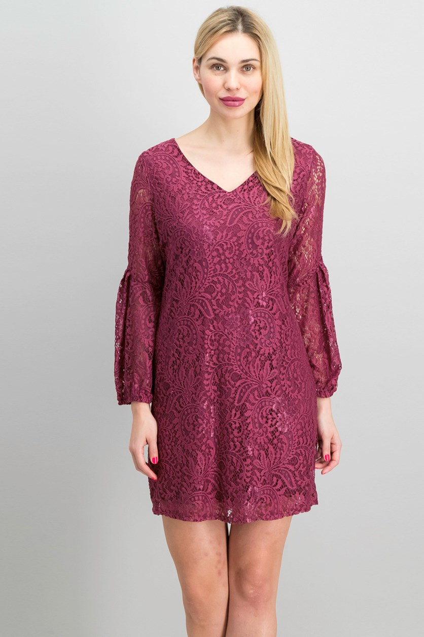 Petite Lace A-Line Dress, Plum