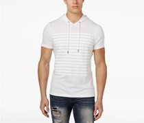 Inc International Concepts Men's Striped Short-Sleeve Hoodie, White Pure