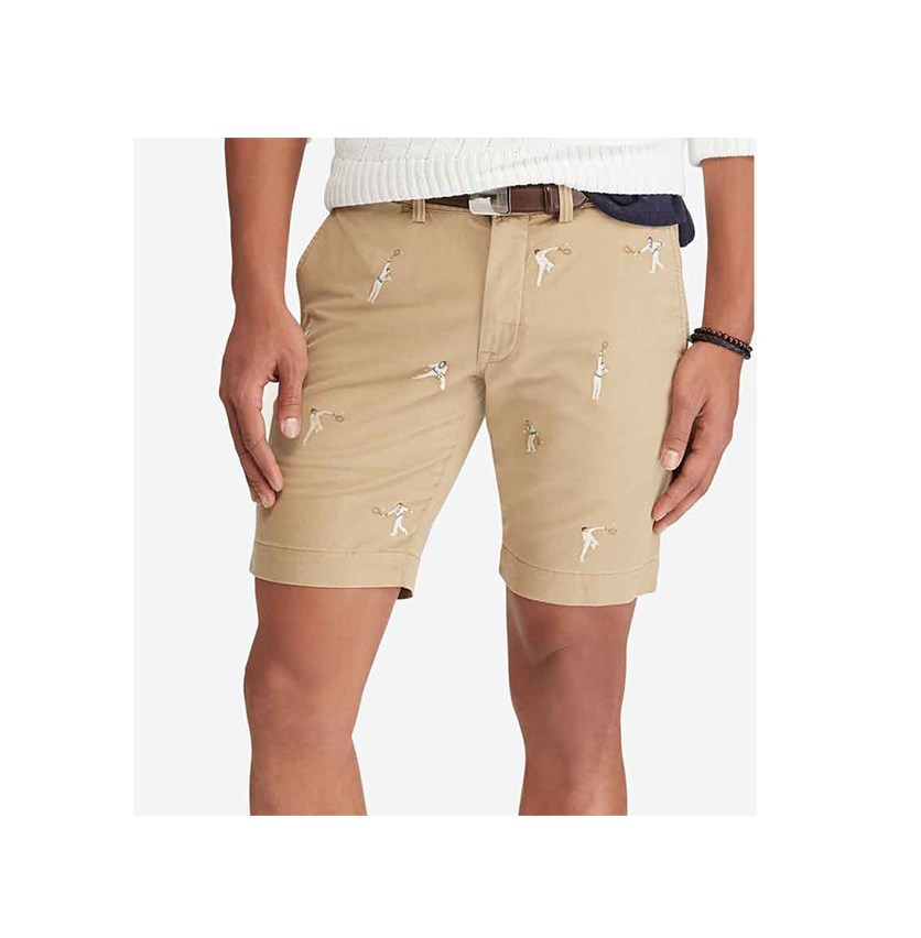 Men's Stretch Slim Fit Embroidered Chino Shorts, Luxury Tan