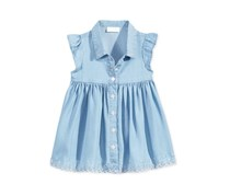 First Impressions Baby Girls Flutter-Sleeve Denim Dress, Light Denim