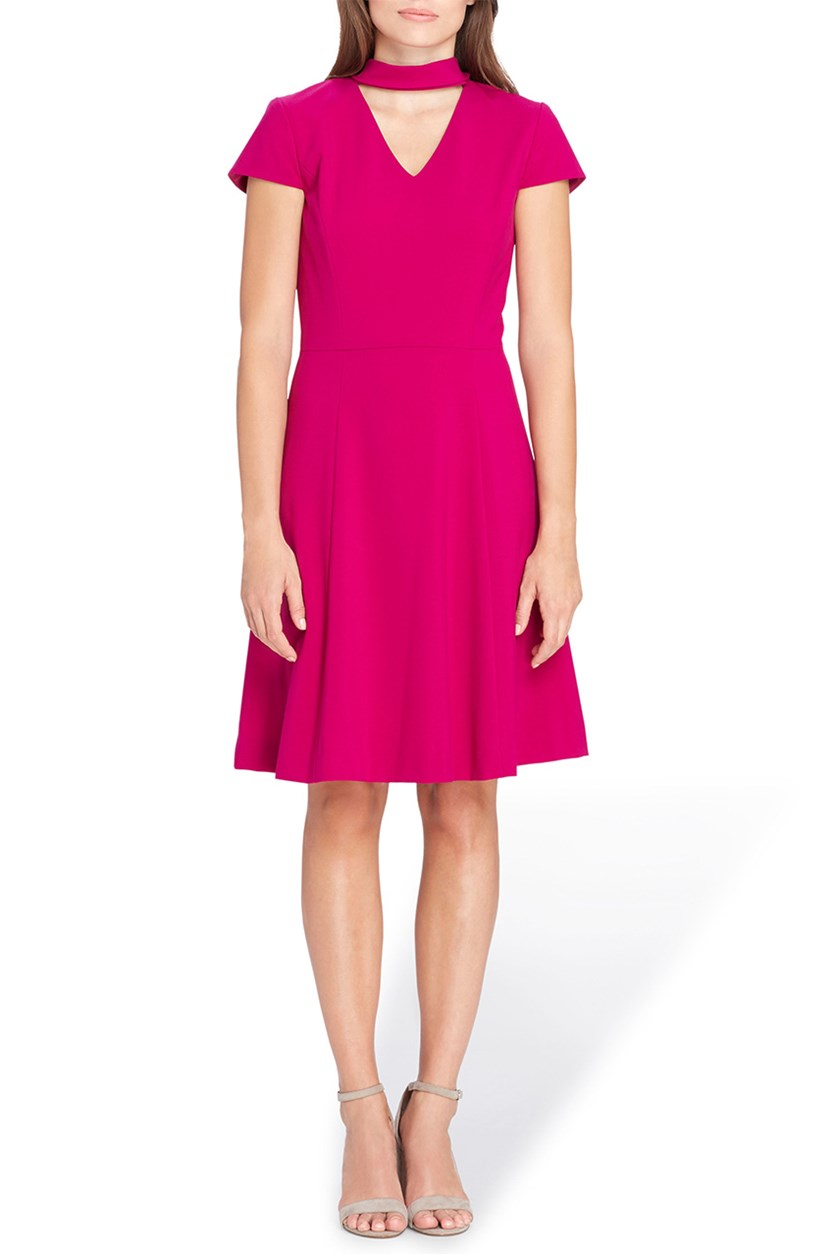 ASL Womens Petites Mage Cap Sleeves Flare Dress, Magenta