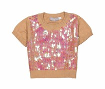 Boboli Girls Knit Pullover Tee, Brown/Gold