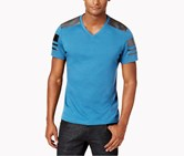 International Concepts Mens Faux-Leather Pieced T-Shirt, Aster Blue