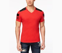 International Concepts Men's Faux-Leather Pieced T-Shirt, Licorice Red
