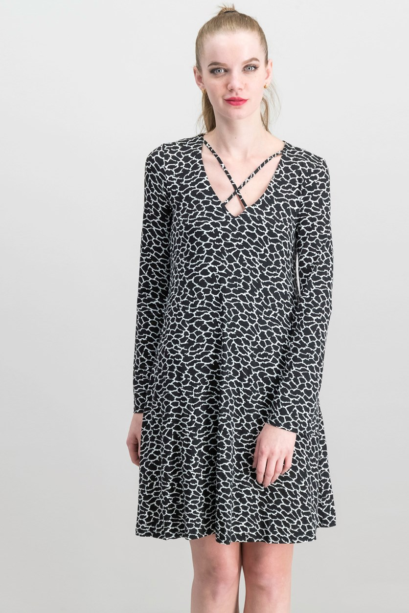 Women Long Sleeve Printed Dress, Black/White