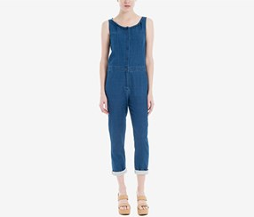 Max Studio Women's London Cotton Denim Jumpsuit, Blue