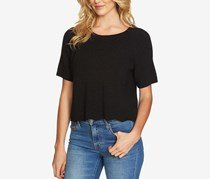 1.STATE Cotton Cropped Sweater Top, Rich Black