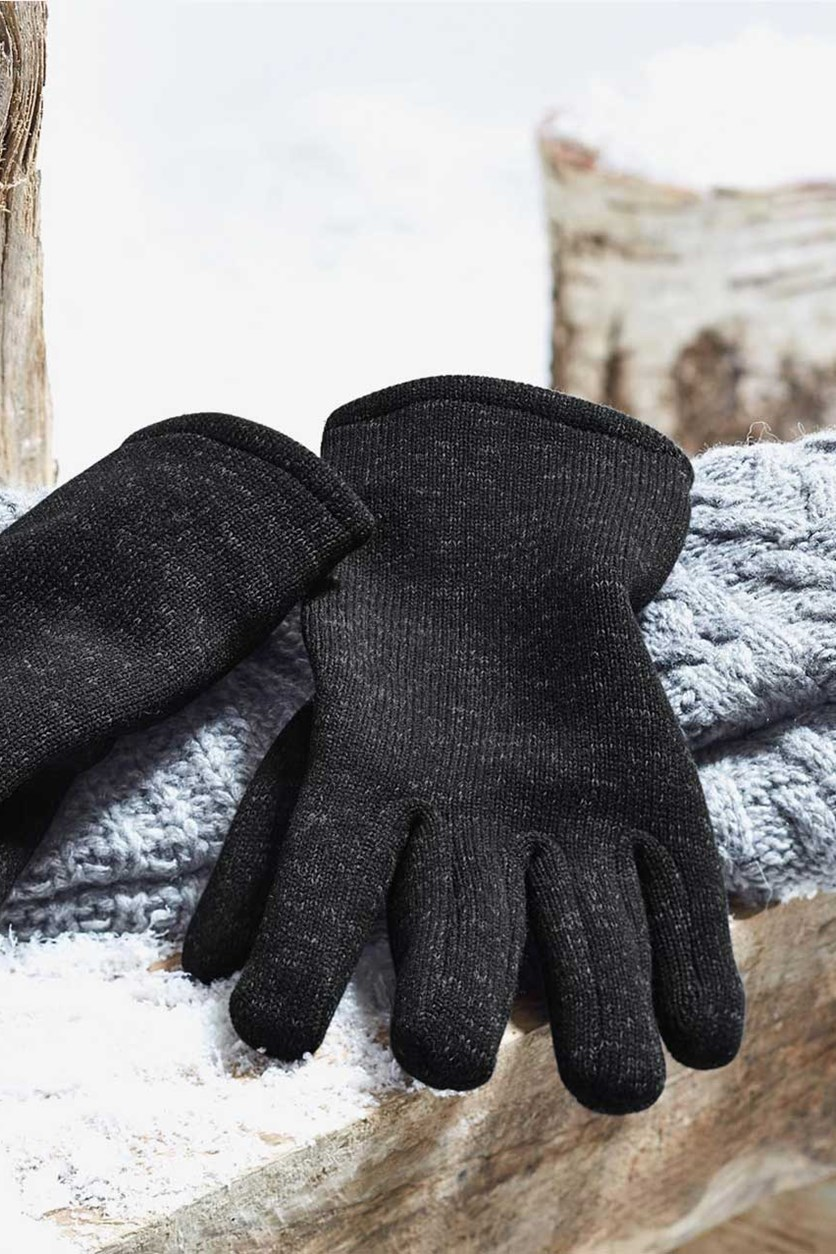 Knitted Fleece Gloves, Anthracite