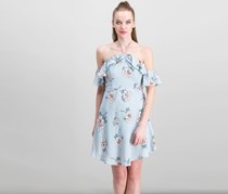 J.O.A. Off Shoulder Dress, Blue/Grey Combo