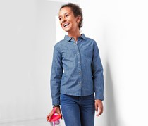 Girl in Jeans Blouse, Denim Blue