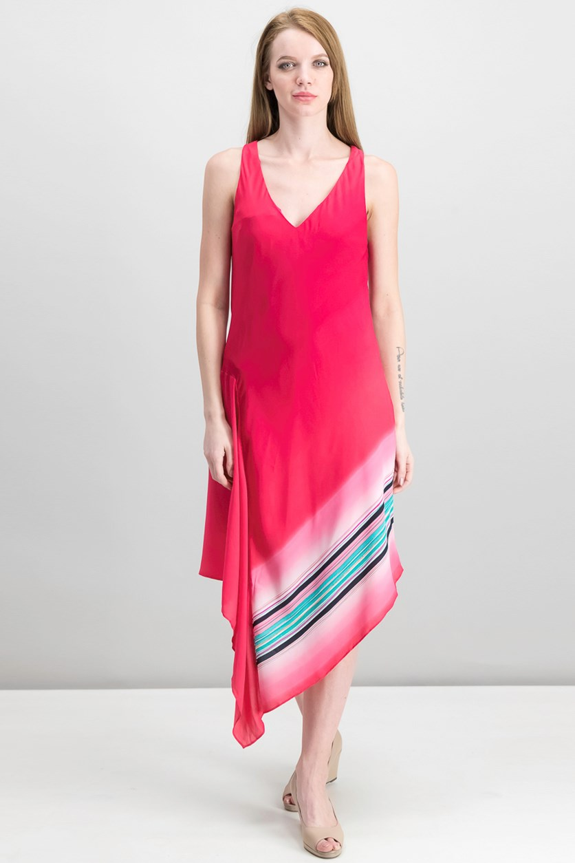 Printed Asymmetrical Dress, Azalea Ombre Combo