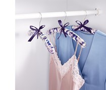 3 Padded Hangers with Fabric Cover, Pink/Purple Combo