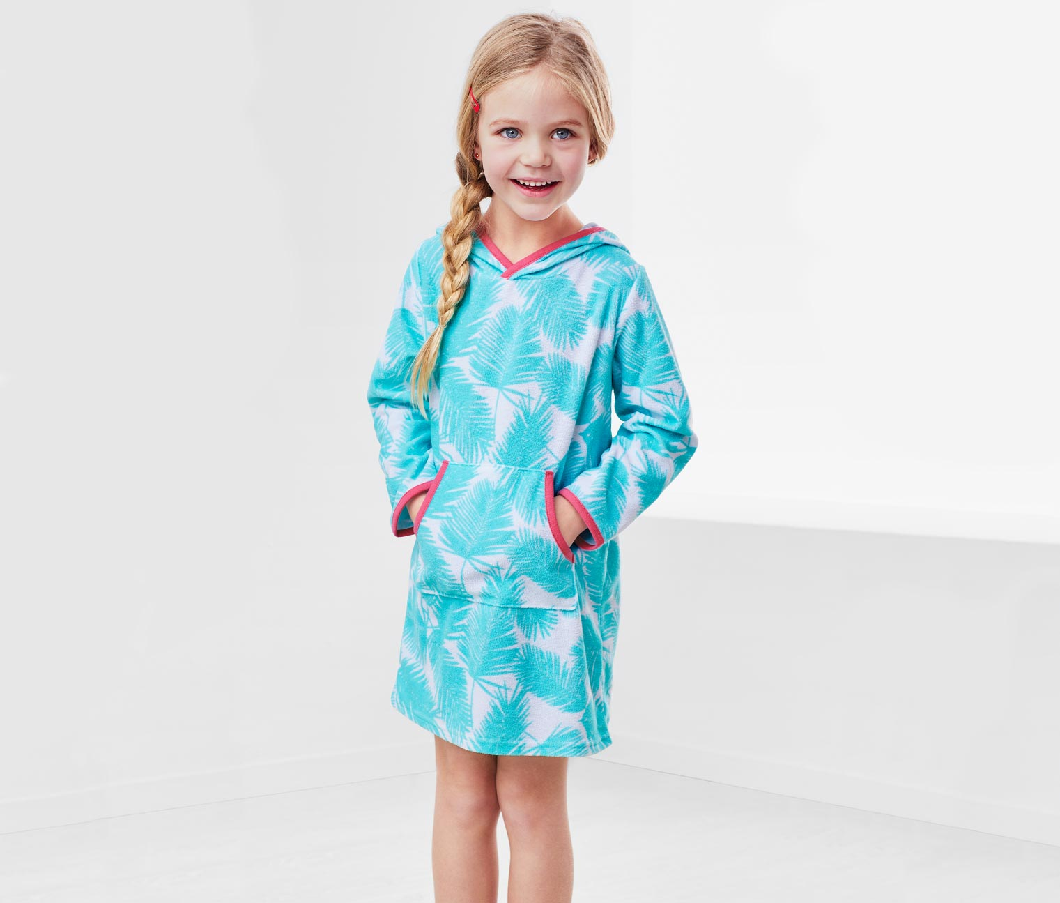 Girls Terry Dress, Turquoise