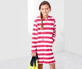 Girls Towelling Dress, Red/White