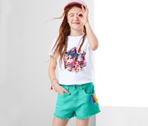Girls Belt Loops Shorts, Aqua