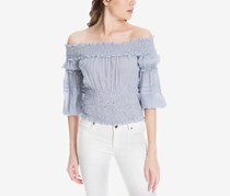 Max Studio London Smocked Off-The-Shoulder Top, Blue/White