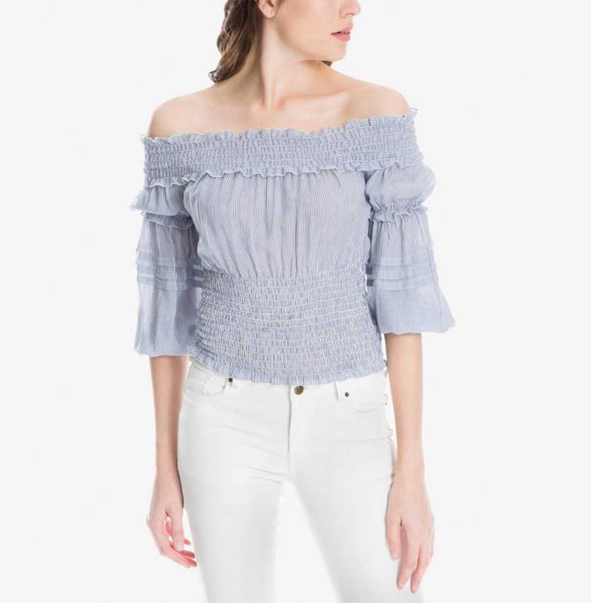 London Smocked Off-The-Shoulder Top, Blue/White