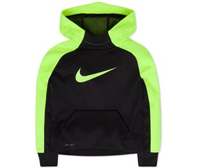 Nike Boy's Swoosh Therma-fit Hoodie, Black/Yellow