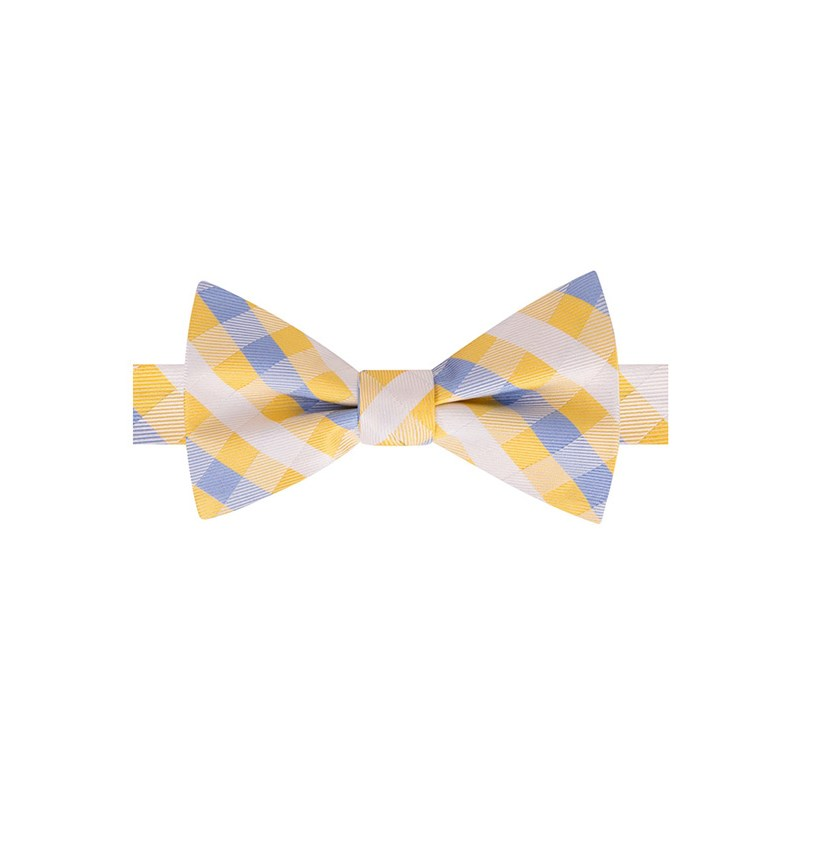 Men's Derby Small Gingham Bow Tie, Yellow