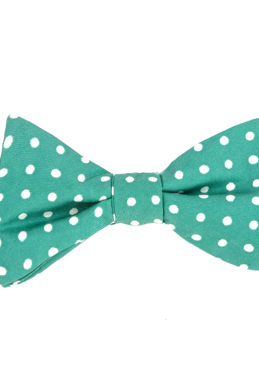 Mens Printed Dot To-Tie Silk, Green