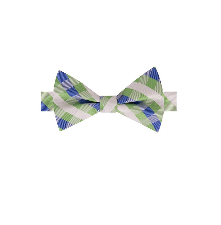 Men's Derby Small Gingham Bow Tie, Green/Blue