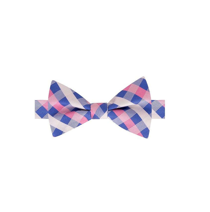 643fc2b21 Tommy Hilfiger Men's Derby Small Gingham To-Tie Silk Bow Tie, Blue/Pink