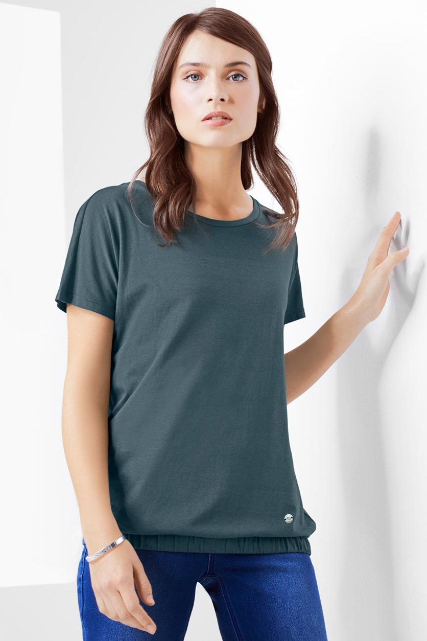 Women Plain T-shirt, Sage