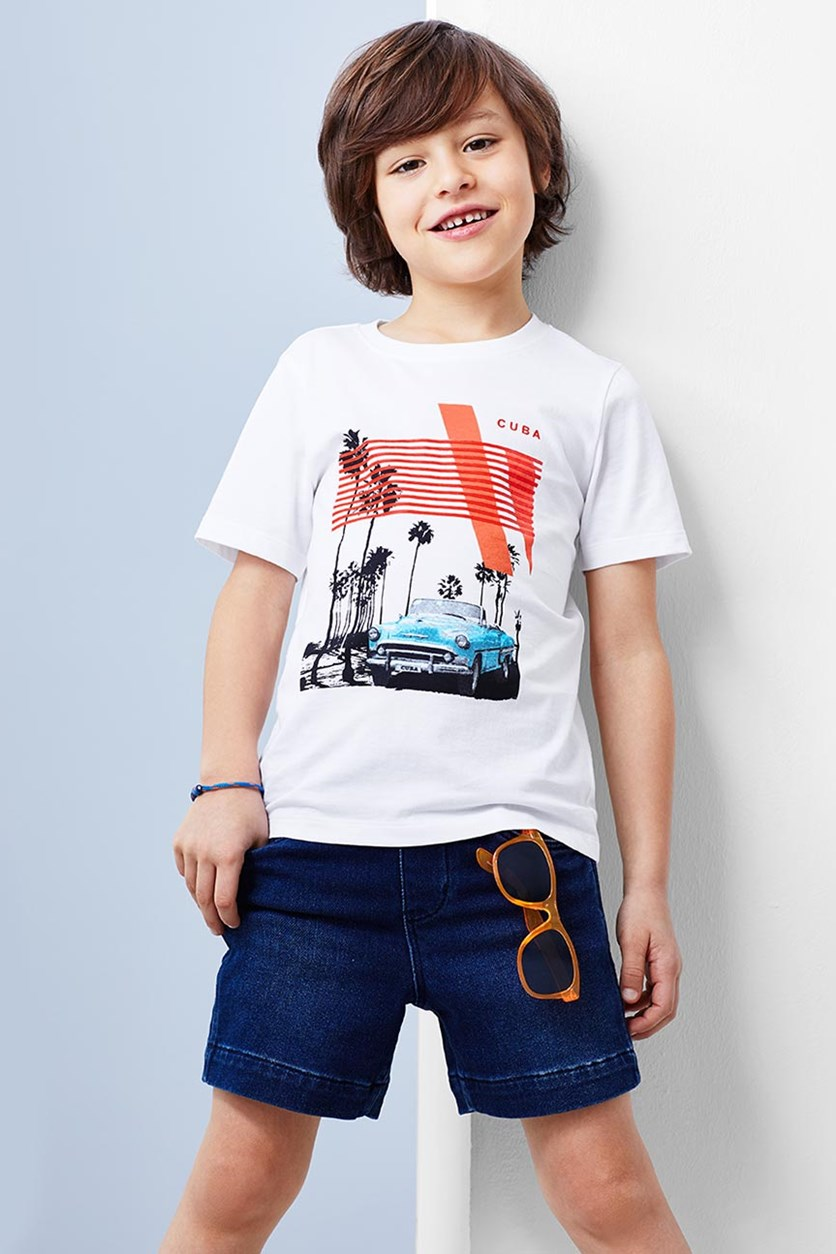 Boys Graphic Shirt, White