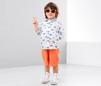 Boys Cars Print Shirt, White Combo