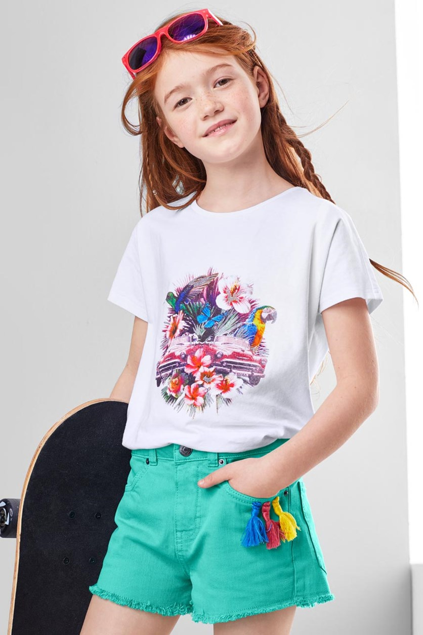 Girls Graphic T-Shirt, White Combo