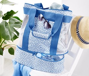 Beach Bag With Cool Section, Blue/White