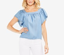 Vince Camuto Frayed Flutter-Sleeve Top, Vintage Blue