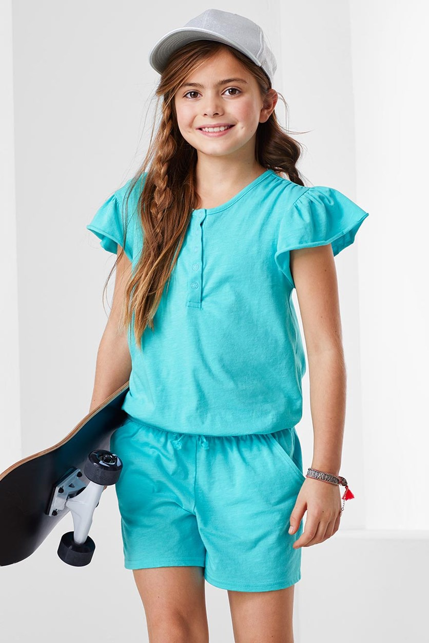 Girls Jumpsuit, Turquoise
