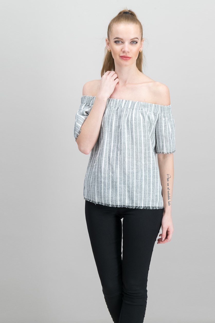 Women's Stripe Top, White Combo