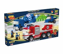 Best-Lock 387 Pieces Trucks Construction Toy, Blue/Red